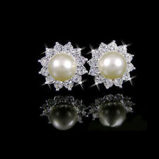 Freeship Luxury 18K White gold GP clear swarovski crystal  white pearl earring