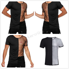 Men's Short Sleeve Breathable Sexy Mesh Tank Top T-Shirt Undershirt Clubwear