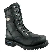 """Harley-Davidson® Mens 8"""" Riddick Lace Up Black Leather Motorcycle Boots D98308 M"""