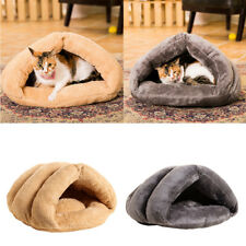 Pet Dog Cat Bed Cave House Portable Puppy Dog Kennel Cushion with Fluffy Ball