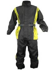 Xelement Mens 2 Piece Black and Yellow Motorcycle Rainsuit