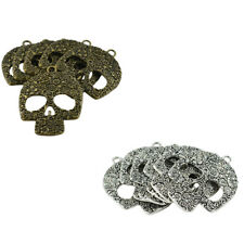 6Pcs Skull Charms Antique Silver/Bronze Gothic Halloween Scary Pendants