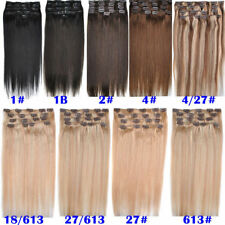 20'' 22'' 8Pcs/Set 100g Remy Human Clip In Hair Extensions Hairpiece Full Head