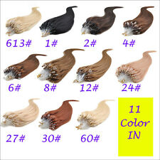 "18~22"" 50g 100S Women  Micro Ring Loop Tipped Remy Human Hair Extensions"