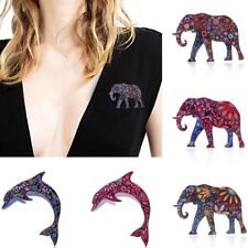 New Beauty Fashion Printing Pattern Elephant Pin Brooch Women Jewelry Party Gift