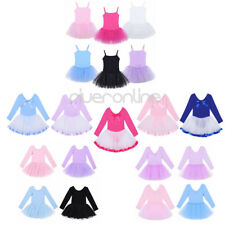 Girl Kids Leotard Tutu Ballet Dress Skirt Long Sleeve Princess Dancewear Costume