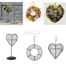 Iron Heart/Circle Frame Stand Succulent Pot Metal Hanging Planter Plant Holder