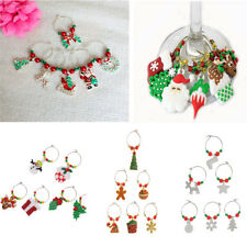6pcs Christmas Santa Claus Wine Glass Charms Marker Rings Table Decoration