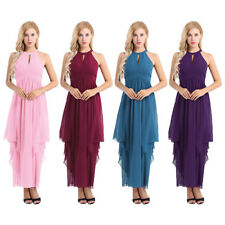 Ladies Womens Bridesmaid Dress Halter Long Chiffon Cocktail Evening Party Gown