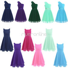 Flower Girl Pleated Dress Formal Chiffon Princess Pageant Wedding Birthday Party