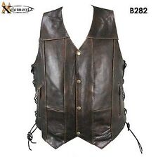 Xelement Mens Retro 10 Pocket Brown Buffalo Leather Vest