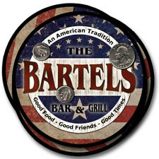 Bartels Family Name Drink Coasters - 4pcs - Wine Beer Coffee & Bar Designs