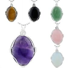 Polished Tumbled Semiprecious Stone Oval Wire Wrapped Pendant For Necklace