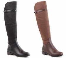 LADIES WOMENS OVER THE KNEE HIGH FLAT HEEL ZIP UP BIKER RIDING BOOTS SHOES SIZE