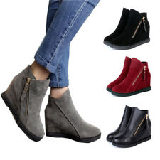 Women Wedge Hidden Heel Suede/PU Ankle Boots Ladies Side Zip Boots Casual Shoes
