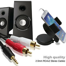 AUX Audio 3.5mm Stereo Male to 2 RCA Y Cable Fr IPOD MP3 Iphone 6FT 12FT 16.5FT