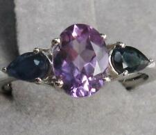Genuine PURPLE AMETHYST & BLUE SAPPHIRE RING 1.75ctw 925 STERLING SILVER 6, 7, 8