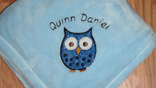 Personalized Boy Owl Baby Blanket Monogrammed