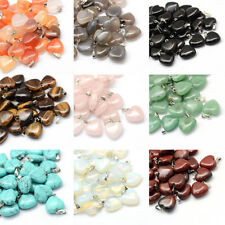 50 Pcs Platinum Tone Brass Findings Heart Gemstone Pendants 17~19x15~16x5~6mm