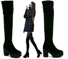 LADIES WOMENS THIGH OVER THE KNEE MID HIGH HEEL PLATFORM STRETCHY BOOTS SIZE