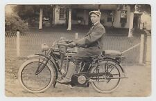 Indian Motorcycle c1910 RPPC Real Photo Postcard Man on Indian Motorcycle