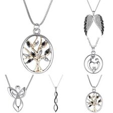 Women Crystal Tree Heart Angel Wing Sweater Chain Pendant Necklace Fashion Gift
