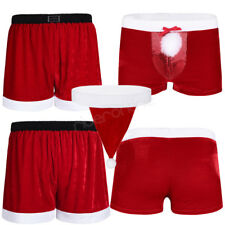 Christmas Costume Men Brief Underwear Boxer Shorts Lingerie G-string Thong Xmas