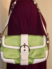 COACH WHITE LEATHER GREEN SOHO BUCKLE FLAP SHOULDER BAG PURSE TOTE 1879