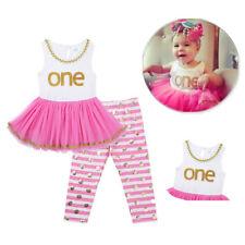 Infant Baby Girls Outfit Mesh ONE Top Pink Tutu Dress Striped Pants Set Clothes