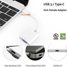 USB 3.1 Type C- VGA Adapter Switcher Splitter+VGA Cable for Phone PC Tablet Pro