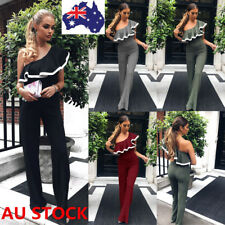 AU Women Summer One Shoulder Ruffled Jumpsuit Long Pants Party Playsuit Romper