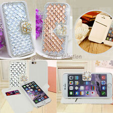 Luxury DIY Handmade Crystal Diamonds Leather Wallet Flip Case Cover For iPhone