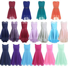 Girls Flower Lace Dress Princess Pageant Wedding Bridesmaid Kid Formal Ball Gown