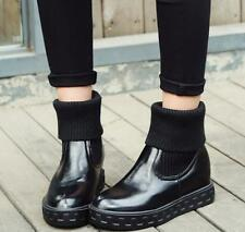 New Womens Elegant Flats Platform PU Leather Cuffed Ankle Snow Boot Casual Shoes