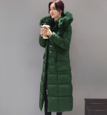 Womens Down Cotton Coats Winter Jackets Warm Long Slim Fit Parkas Outwear Zip Sz