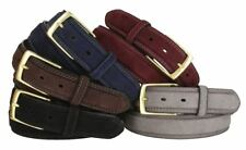 """Suede Genuine Leather Casual Jean Belt 1-3/8"""" Wide Stitched Edge Brass Buckle"""
