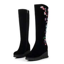 Ladies Womens Floral Wedge High Heels Shoes Platform Faux Suede Knee High Boots