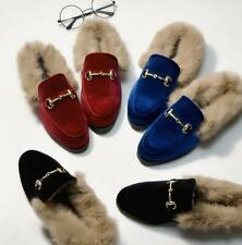 New Womens Velvet Loafers Rabbit Fur Trim Fashion Casual Shoes Slippers Mules SZ