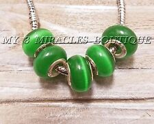 GREEN CATS EYE Glass Beads Wholesale European Style Charms for DIY Bracelets
