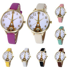 CO_ Womens Eiffel Tower Dial Faux Leather Band Analog Quartz Wrist Watch Gift Ch