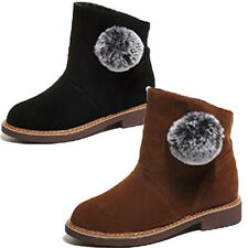 Womens Winter Warm Round Toe Pull On Suede Short Ankle Boots Flats Casual Shoes