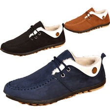 Mens Round Toe Flat Casual Work Suede Faux Fur Shoes Plush Lined Lace Up Shoes