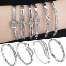 Fashion White Gold Filled Crystal Cuff Bracelet Bangle Women Wedding Jewelry