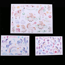 10 Sheets Watercolor Magical Unicorn Pony Stickers Decal Scrapbooking Supplies