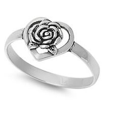 CUTE! Flower Heart .925 Sterling Silver Ring sizes 5-9