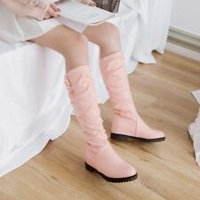 Fashion Vogue Girls Hidden Heels Knee High Boots Pull On Slouch Flats Shoes
