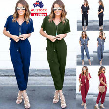 Women Summer V Neck Jumpsuit Short Sleeve Playsuit Long Trousers Party Rompers