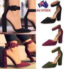 Women Block High Heel Ankle Strap Buckle Sandals Ladies Pointed Toe Pumps Shoes