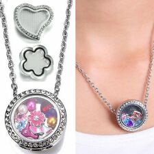 Snap-it Chunk Floating Charms Glass Button Locket Ring Pendant Necklace Jewelry