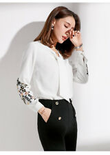 Womens V Neck Long Sleeve Tops Embroidery Floral Blouses Slim Fit OL Shirts New